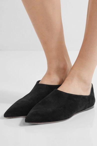 Prada - Suede Point-toe Flats - Black - IT37.5