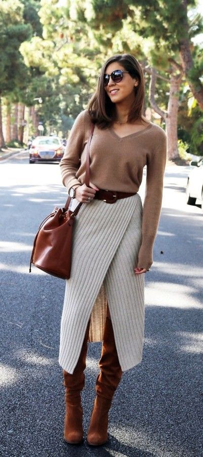 Stylish Knit wrap midi skirt