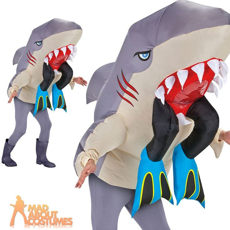 Adult Inflatable Shark with Legs Costume Mens Funny Sea Stag Fancy Dress Outfit