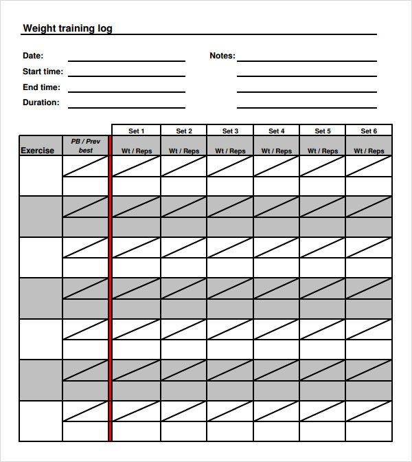 weight training logs templates