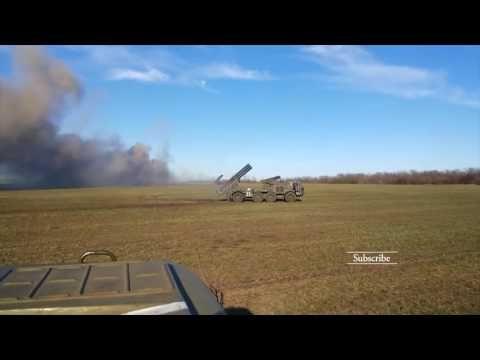 UKRAINIAN POWERFUL BM 27 URAGAN IN ACTION • ROCKET LAUNCH EASTERN UKRAINE