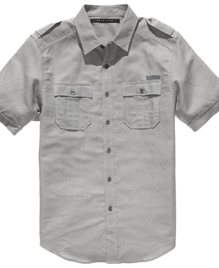 Sean john shirt short sleeved linen shirt mens shirts for Sean john t shirts for mens