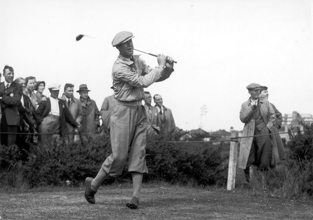 Byron Nelson: Byron Nelson tees off during the 1937 Ryder Cup.