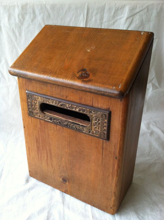 Antique Rustic Wooden Mail Box with Antique Metal Letter Slot