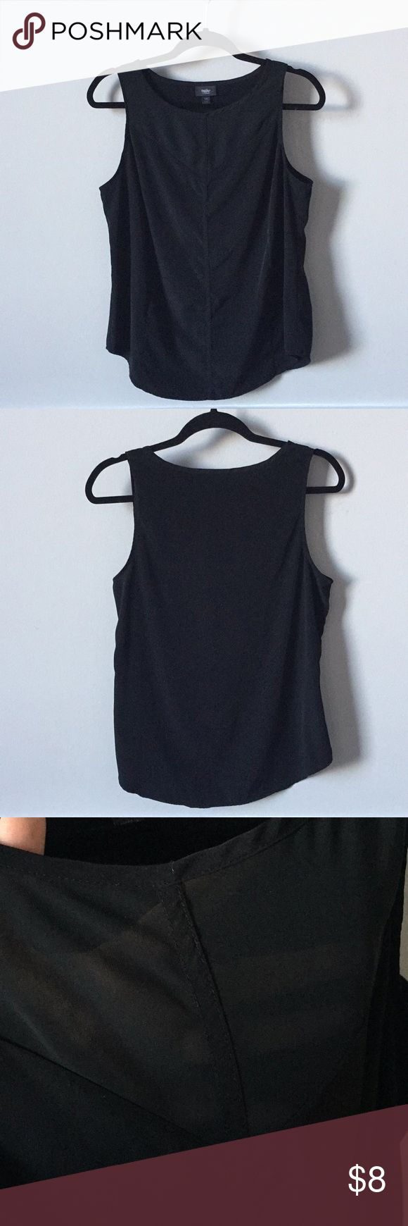 Mossimo Black Tank Mesh Sheer Panel Previously loved, good condition. This is a great shell/ tank top perfect for layering or wearing on its own. All black, with a sheer panel on top. This tank has piping on the front that is super flattering. The neckline is higher so the sheer part doesn't show anything too revealing. The back bottom hemline does have some pilling as shown but it's still in great condition. Mossimo Supply Co. Tops Tank Tops