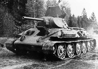 The Soviet Union tank, the T-34, one of the deadliest and most influential tanks in World War II.