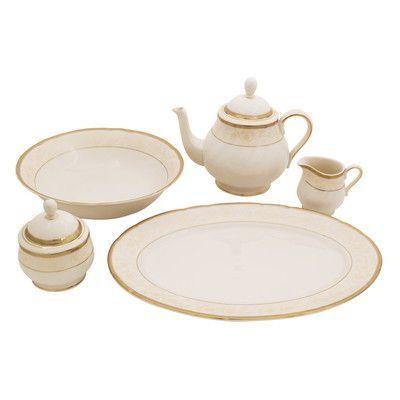 Shinepukur Ceramics USA, Inc. Galaxy Ivory China Traditional Serving 5 Piece Dinnerware Set