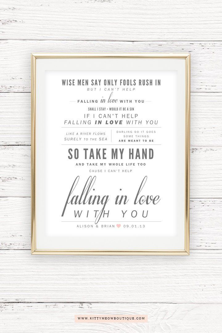 Ingrid Michaelson Elvis Presley Can T Help Falling Etsy Cant Help Falling In Love Paper Gifts Anniversary Wedding Songs