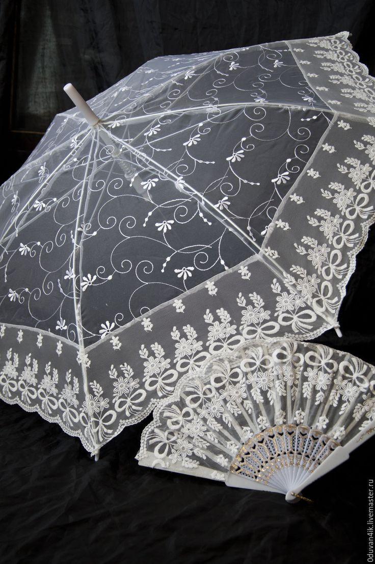 Купить Комплект №20 - белый, зонт, свадебный зонт, ажурный зонт, веер, Аксессуары handmade