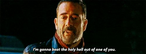 """The new """"Walking Dead"""" trailer features ONLY Negan and Lucille, and we are REALLY WORRIED about everybody's lives. Please, AMC Gods, be kind."""