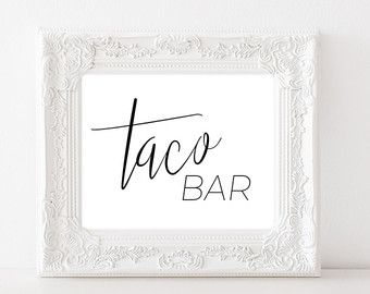Taco Bar Sign Walking Tacos Sign Make Your Own by TheDoodleCoop