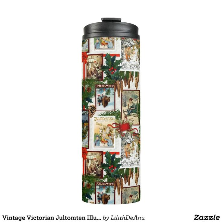 Vintage Victorian Jultomten Illustrations Bottle Thermal Tumbler