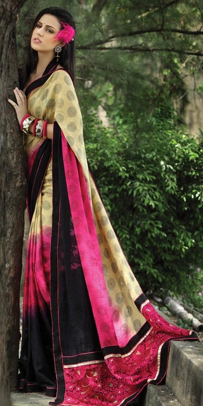Embroidered Patch Pallu Bottom Saree :: These are so beautiful