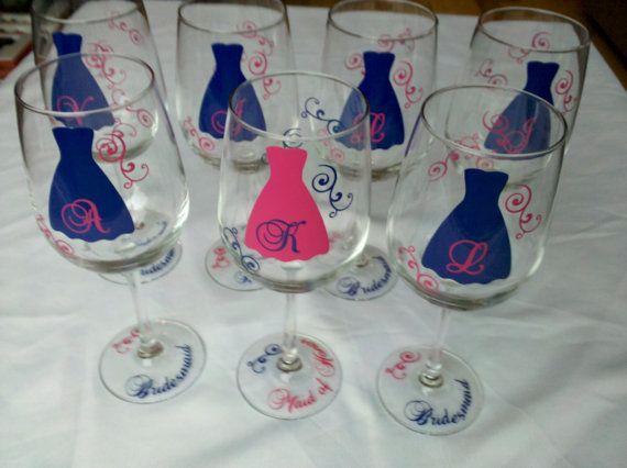 Navy/Pink wine glassesGift Wine, Bridesmaid Gifts, Hot Pink, Bridal Shower, Bridal Parties, Wedding Theme, Wine Glasses, Navy Wedding, Bridesmaid Monograms