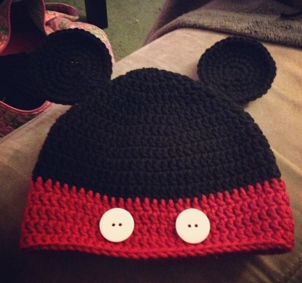 Crochet mickey mouse hat crafts pinterest crochet mickey mouse