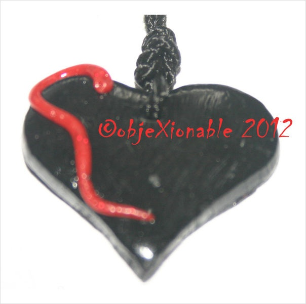 Black Heart with Red Snake Pendant