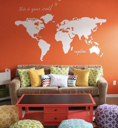 High Quality Large World Map Wall Decal    Design Ideas