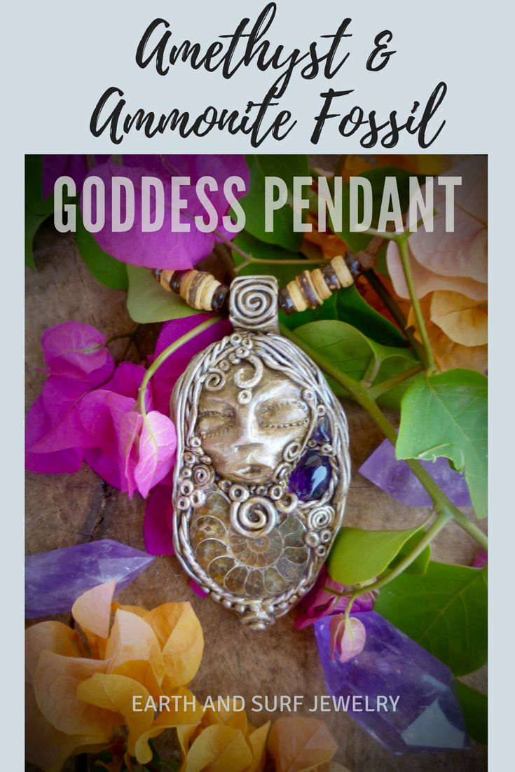 Amethyst goddess necklace with ammonite, Clay gemstone pendant, clay healing crystal necklace #goddesspendant #goddessnecklace #polymerclay