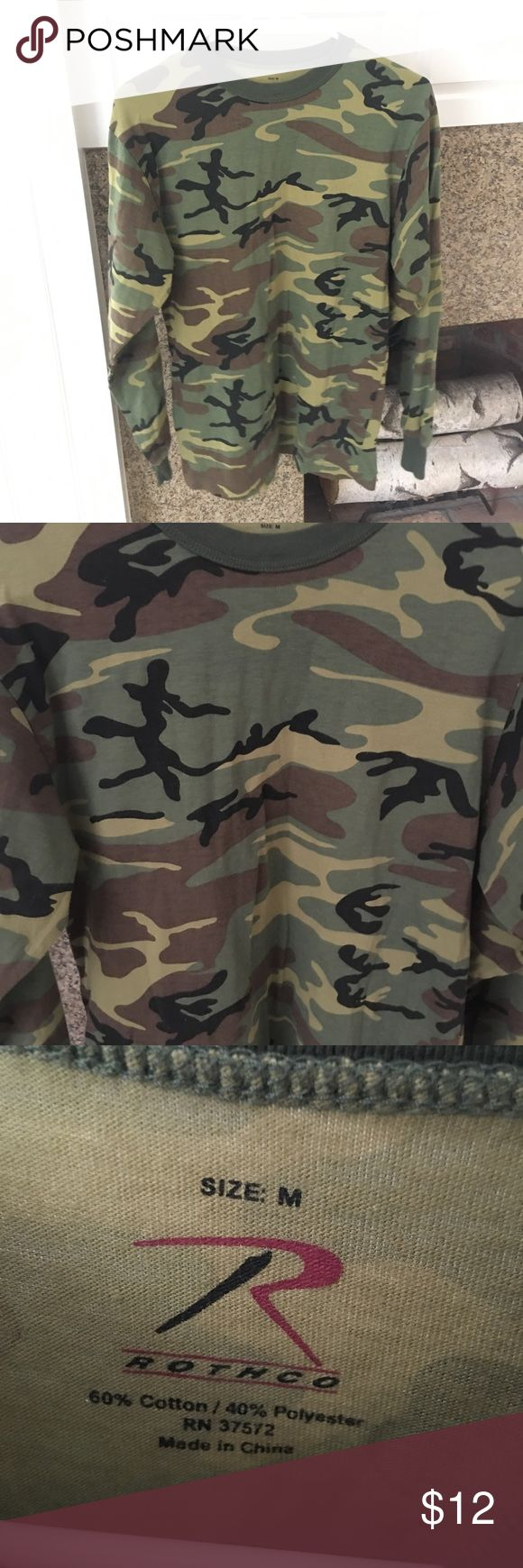 Long sleeved Camo top I think this is a men's top, but it could be for women too, I wore it a few times and it seemed unisex Rothco Shirts Tees - Long Sleeve