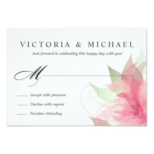 "RSVP Stargazer Pink Watercolor Floral Reply Cards 3.5"" X 5"" Invitation Card"