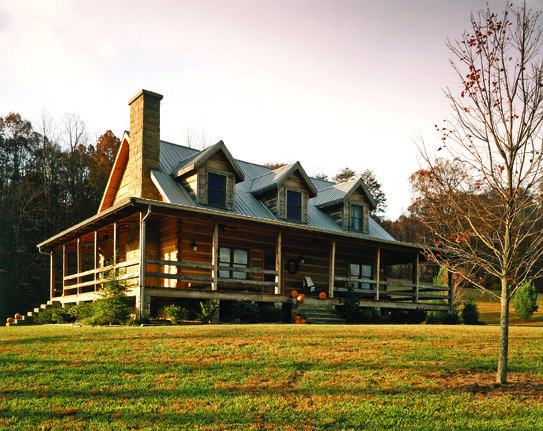 Log cabin with wrap around porch exterior home designs for Full wrap around porch log homes