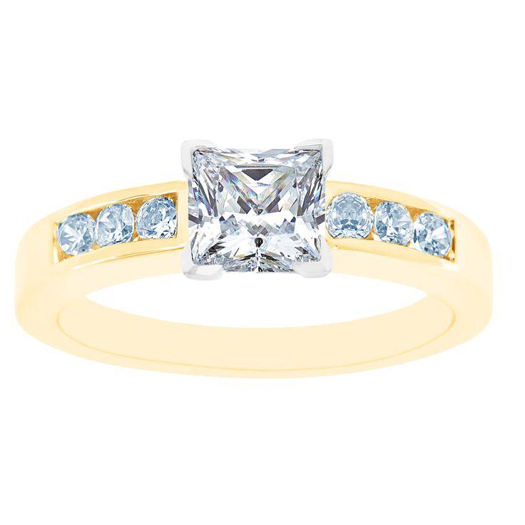 New York City Diamond District 14K Two Tone Princess Cut Certified Diamond Engagement Ring, Size: