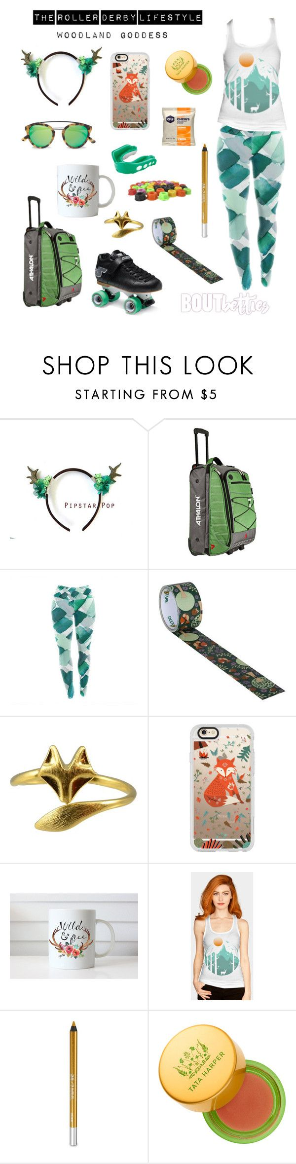 """Roller derby clothes   Fri-yay Fashion: """"Woodland Goddess"""" by Bout Betties on Polyvore featuring Athalon, Casetify, Westward Leaning, Tata Harper, Urban Decay, Riedell and Shock Doctor"""