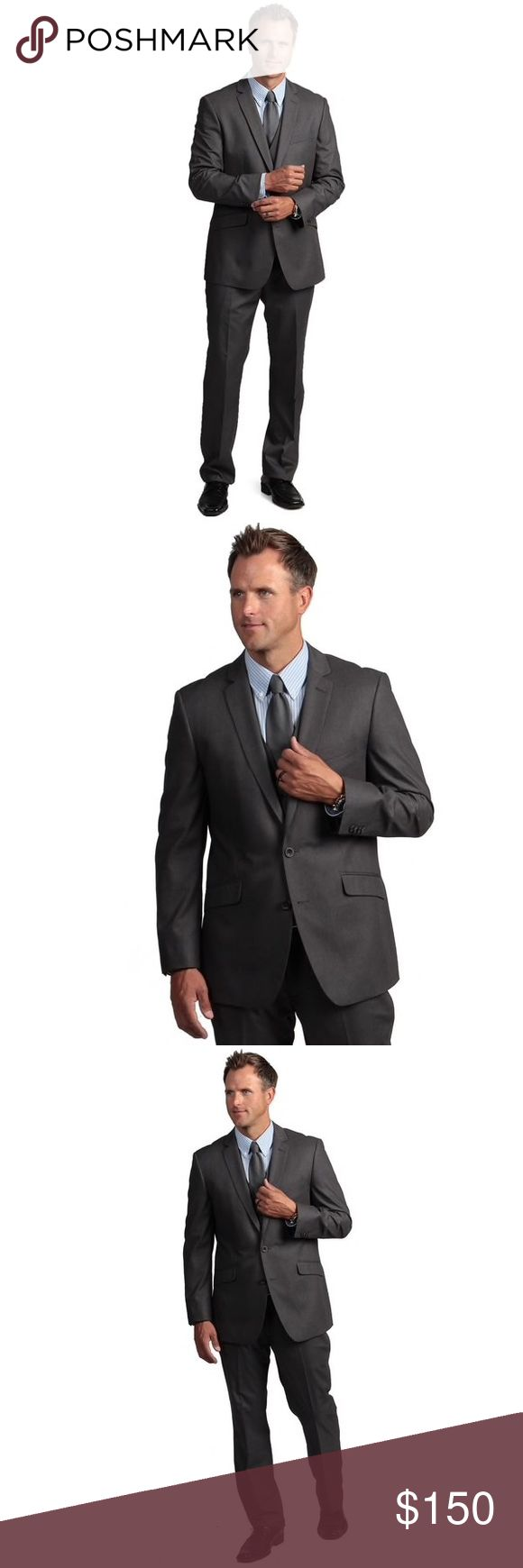 Kenneth Cole Reaction Men's Slim-fit Grey Suit Kenneth Cole Reaction Men's Slim-fit Grey Suit Coat blazer and pants, 2 pieces, worn once only like new, looks new. Excellent condition, husband wore it for a few hours to an interview. The jacket is size 38S and the pants are size 32width and 30 length but they fit like a 33-34 width. Jacket true to size Kenneth Cole Reaction Suits & Blazers Suits