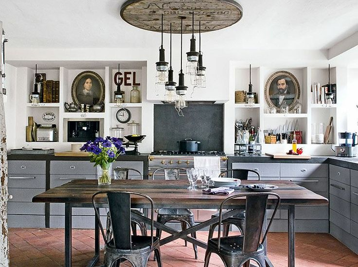 Kitchen Lighting Vintage Kitchen Design With Industrial Kitchen Lighting  Fixture On False Ceiling Over Rustic Dining Table Applying The Fabulous  Industrial ...