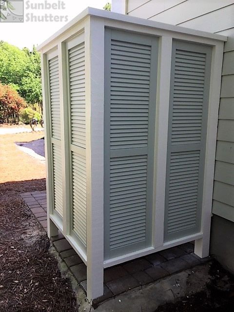 This Outdoor Shower Uses Sunbelt Shutters Extira Composite Louvered