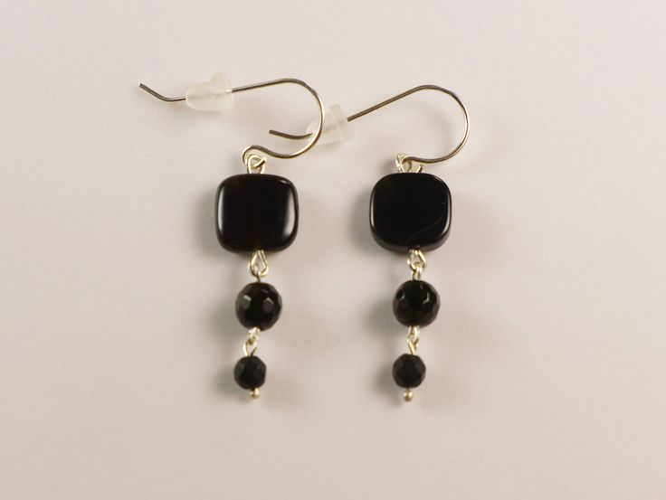 Black Gems & Silver Earrings