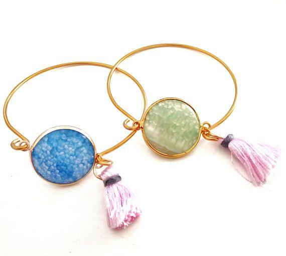 Gemstone Bangle Agate Stone Bangle Multicolor Bangle Brass