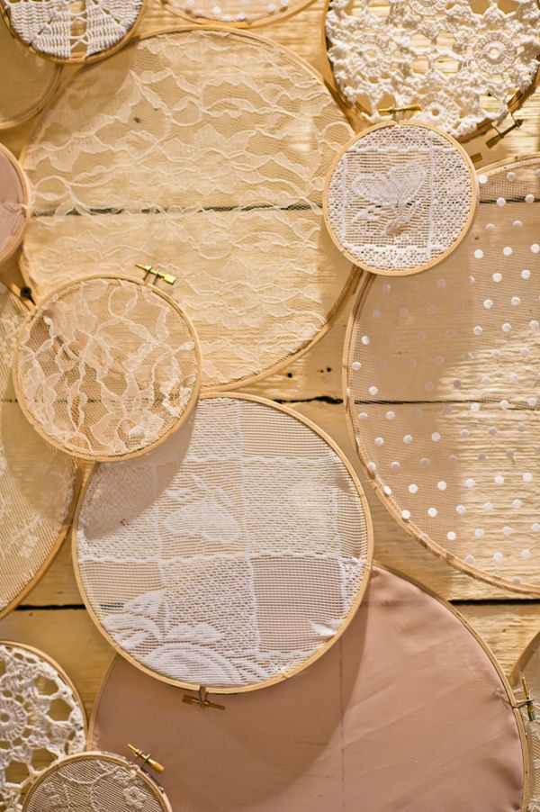 Embroidery hoops and lace backdrop - photo Swoon Over It