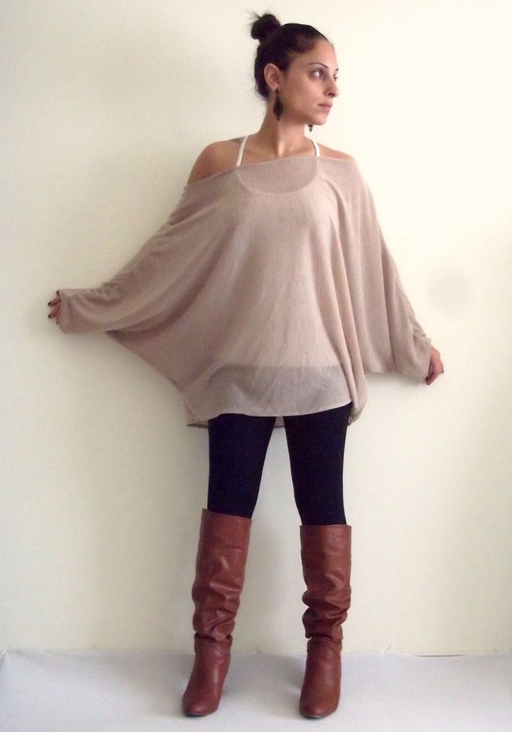 Plus size tunic top/ Oversize knitted top/ Women plus size sweater/ Dolman oversize knitted top with bat sleeves ON SALE. $49.00, via Etsy.