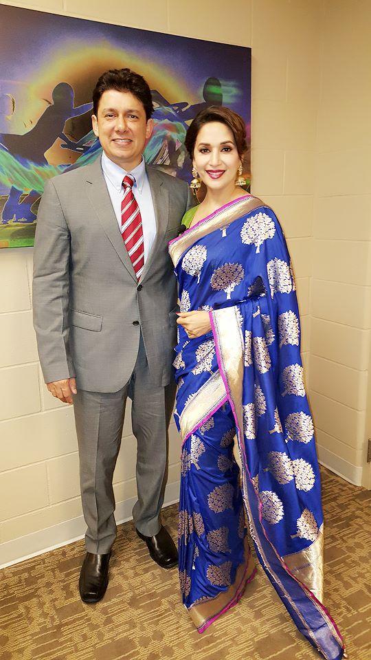 Actress Madhuri Dixit in Blue Banarasi Silk Saree.