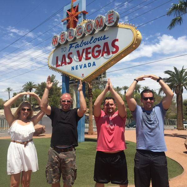 O-H-I-O at the Welcome to Las Vegas sign.