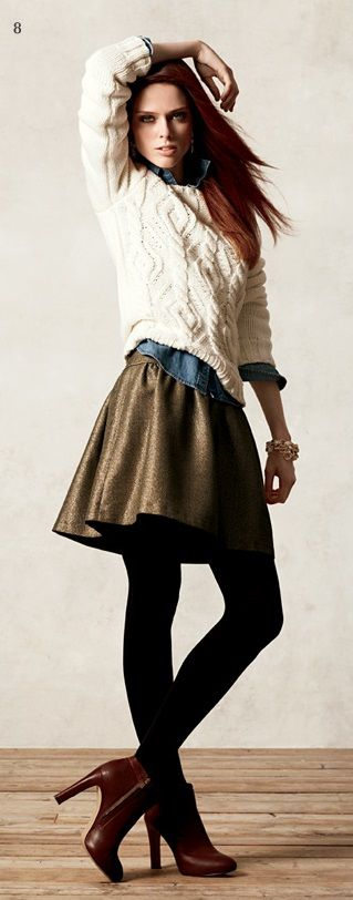 gold skirt + cable sweater + ankle booties - Banana Republic