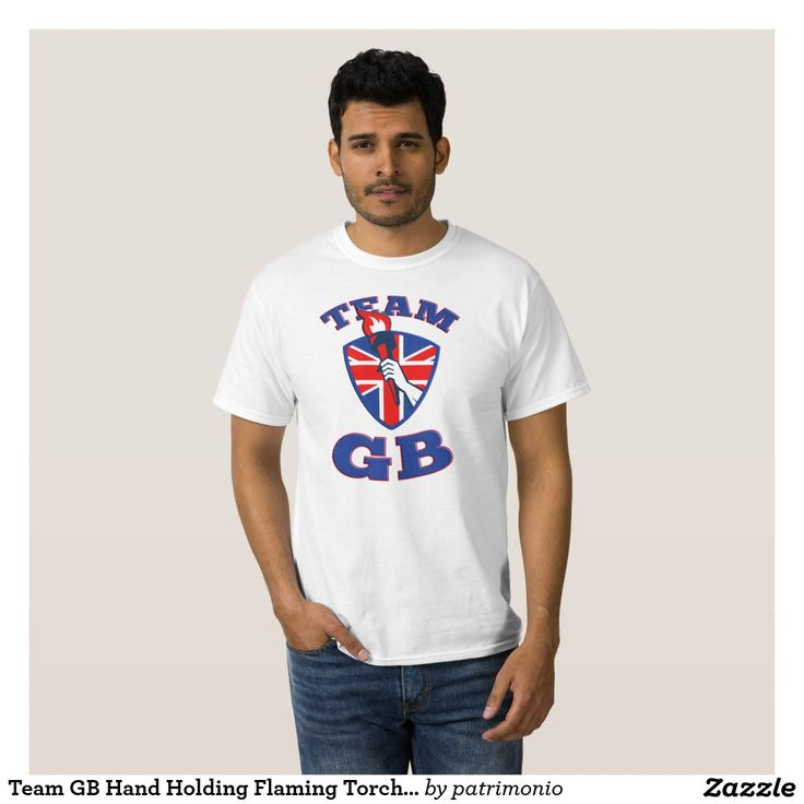 Team GB Hand Holding Flaming Torch British Flag T-shirt. Retro illustration of an athlete hand holding a flaming torch with union jack Great Britain British flag set inside circle on isolated white background. #teamGB #olympics #sports #summergames #rio2016 #olympics2016