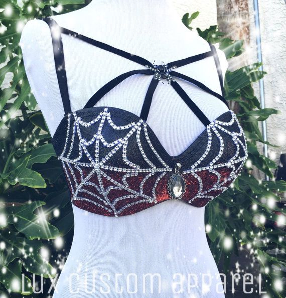 Dark Spiderman Halloween Costume Rave Bra 32D by LuxCustomApparel