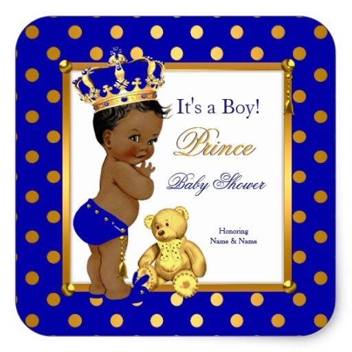 Prince Baby Shower Boy Royal Blue Gold Ethnic Square Sticker