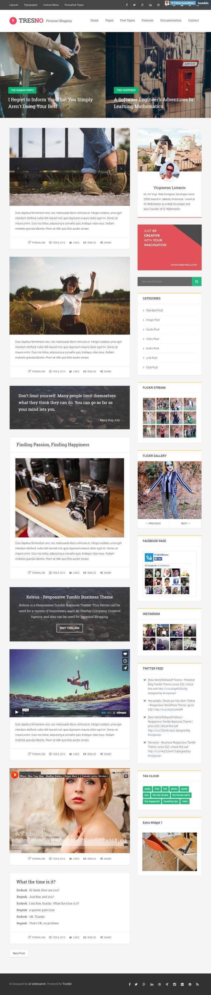 Tresno is Premium full Responsive Tumblr Blog Theme. Retina Ready. Bootstrap Framework. Disqus integration.Google Analytics. Test free demo at: http://www.responsivemiracle.com/cms/tresno-premium-responsive-personal-blog-tumblr-theme/
