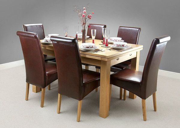 dorset natural solid oak dining set 4ft 7 extending table with 6 scroll back brown leather chairs - Solid Oak Extending Dining Table And 6 Chairs