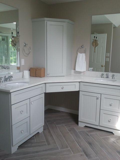 Deconstructed Remodel: Rustic Yet Elegant Master Bathroom. Herringbone Wood  Tile Floor. Transitional Design