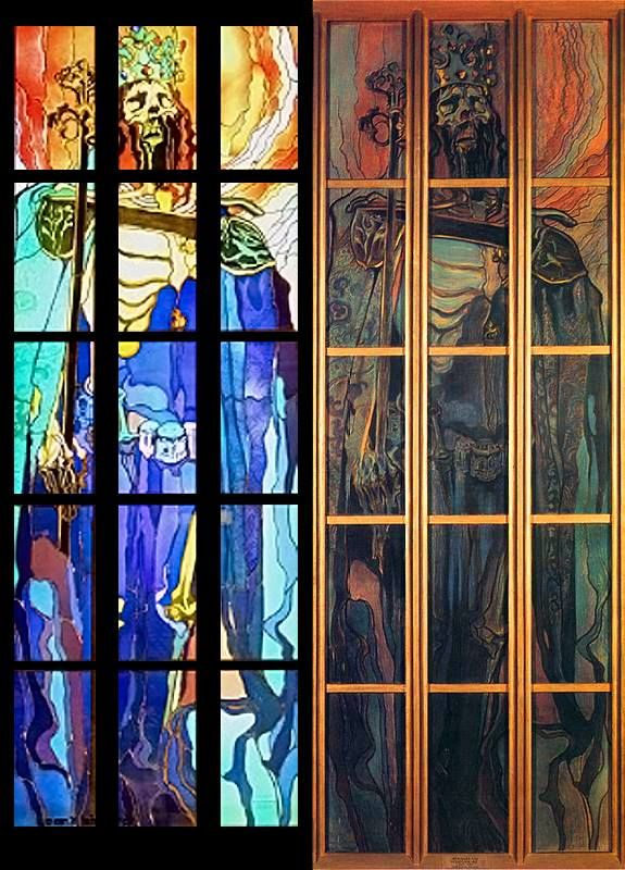 "Stanisław Wyspiański - ""Kazimierz Wielki"" ok. 1900 - left: final glass-work (part of triptych), right - cardboard sketch"