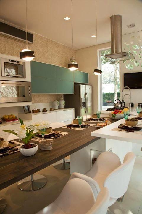 cozinhas com toque azul esverdeado!