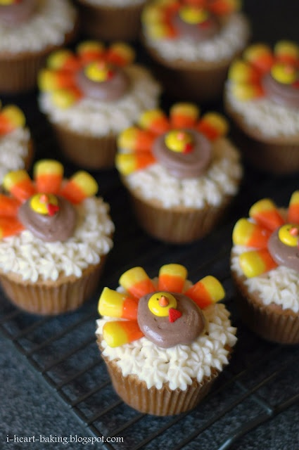 Thanksgiving cupcakes - brown sugar pound cakes with Bailey's irish cream frosting