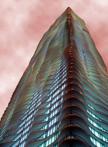 This Beautiful, State Of The Art Building Is Defined As Aqua (skyscraper),  And Can Be Found In Chicago.