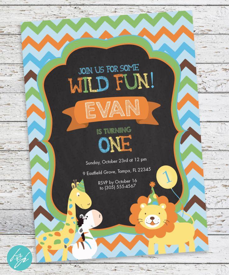 Jungle Animals Birthday Invitation Zoo Lion by FlairandPaper