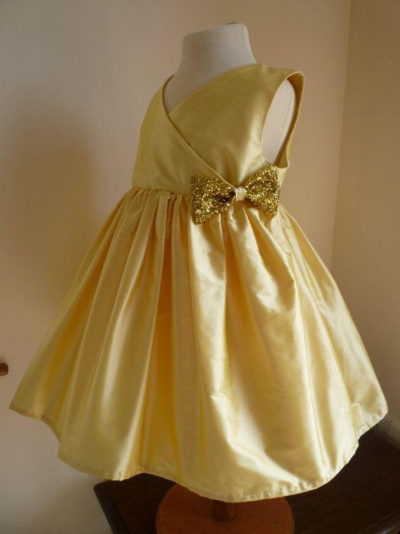 Gold Silk Bridesmaids Dress  Girls Dress  Custom by AnnaandAlex, £155.00