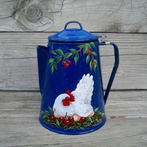 9in tall. VTG BLUE Splatterware COFFEE POT HP HEN CHERRIES Country Rooster Art T.McMurry